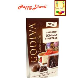 Diwali Chocolates - Godiva Chocolate Assorted Dessert Truffles (4.3 Oz) with Beautiful Diwali Card