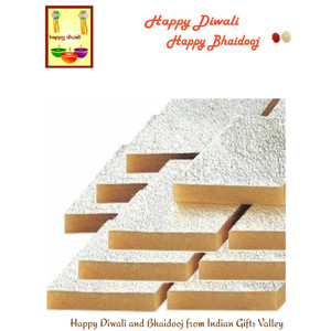 Diwali/Bhaidooj  Sweets- Kaju Katli with Diwali Greeting Card and Roli Tika