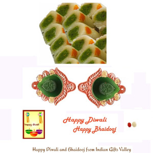 Diwali/Bhaidooj  Sweets- Kaju Roll with 2 Diyas and Diwali Greeting Card and Roli Tika