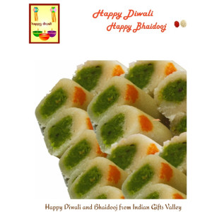 Diwali/Bhaidooj  Sweets- Kaju Roll with Diwali Greeting Card and Roli Tika