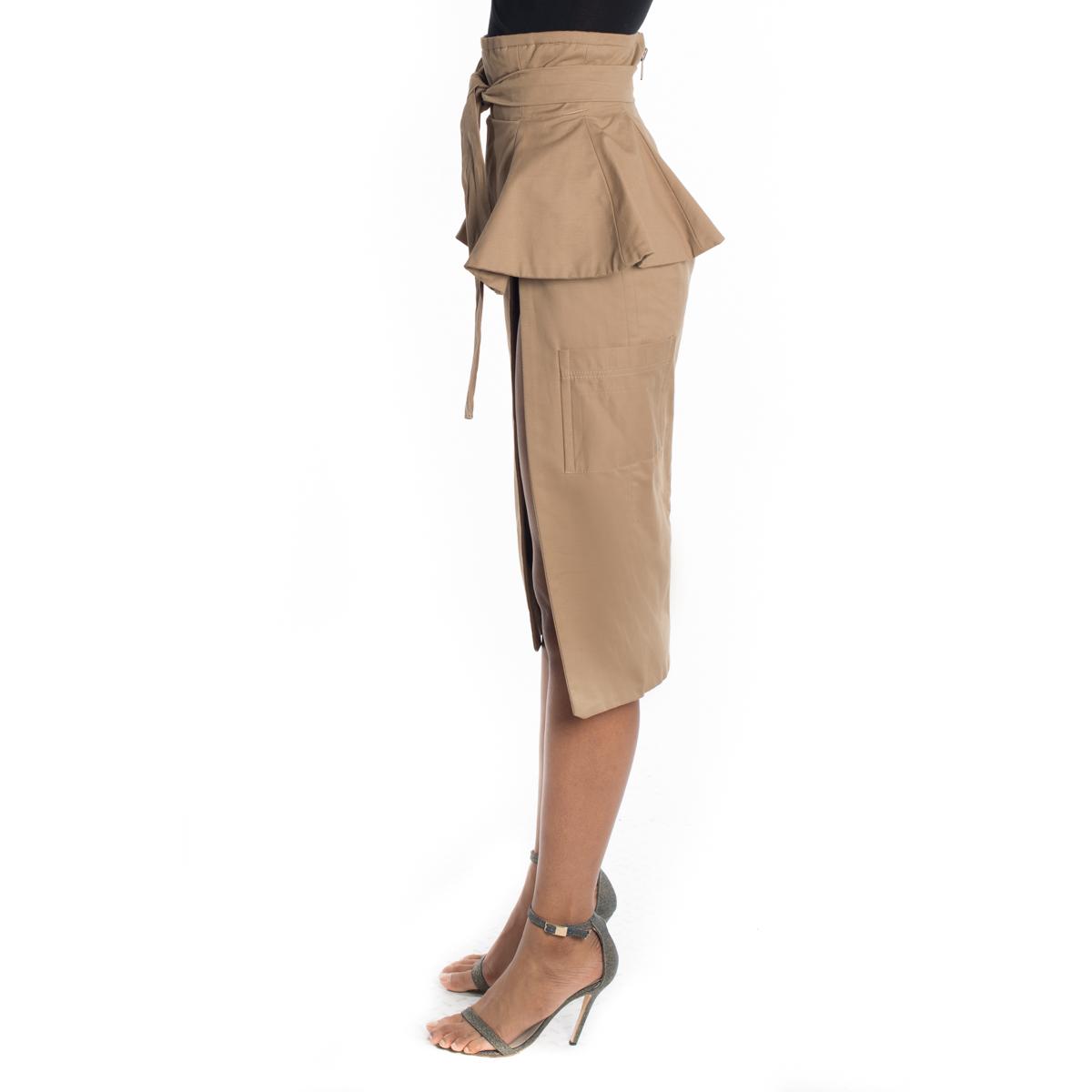 Khaki Belted High Slit Skirt