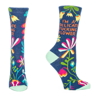 DELICATE FUCKING FLOWER WOMEN'S CREW SOCK