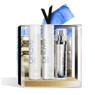 bhave moisture surge moisturising gift pack with hydrator shampoo 300ml, hydrator conditioner 300ml, super nova 120ml and limited edition gold clutch bag