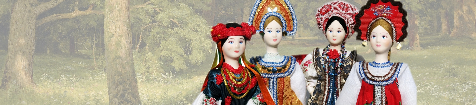 Handmade Russian porcelain and cloth dolls