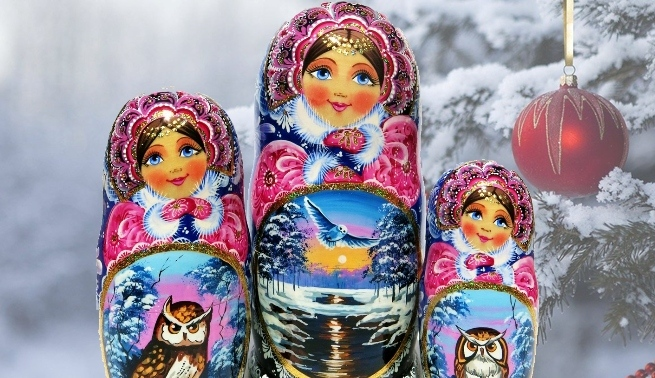 Handmade Russian Nesting Matryshka Dolls For Christmas