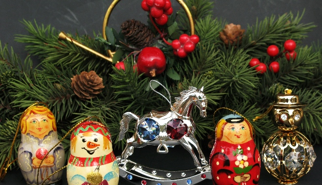 Hand Painted Russian Christmas Ornaments and Decor