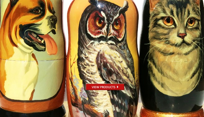 Cat, dog, kitten, owl and animal nesting dolls