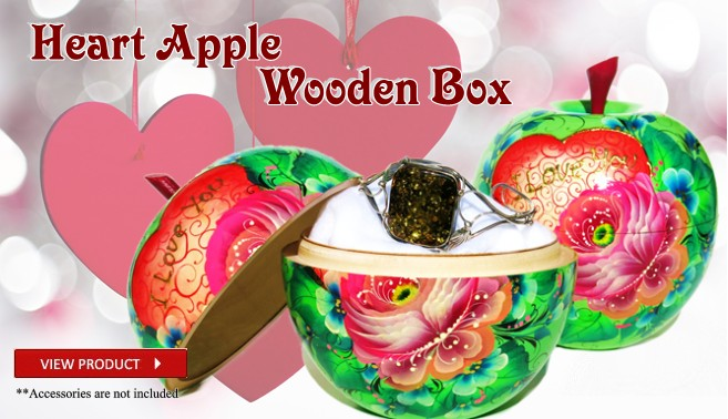 Hand painted Apple Shaped wooden Box for Valentines Day