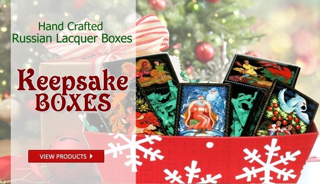 Hand crafted Russian lacquer keepsake boxes