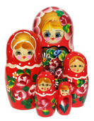 Galina 5 Piece Red Nesting Doll