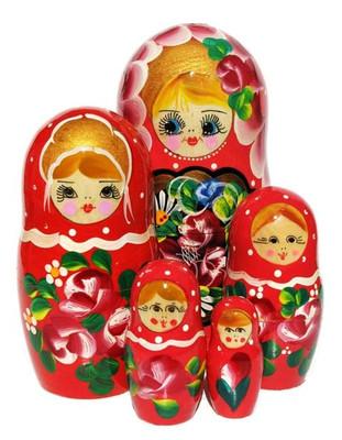 Galina 5 Piece Red Nesting Doll