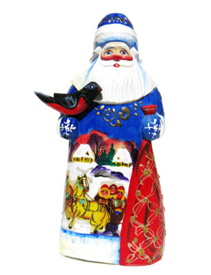 Russian Troyka Hand Carved Wooden Santa