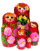 Daisy 5 Piece Red Nesting Doll - Pink Flowers