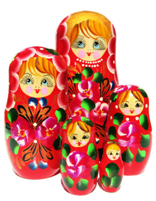 Inna 5 Piece Red Nesting Doll