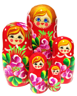 Iris Red 5 Piece Nesting Doll