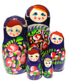 Matryona purple 5 Piece Babushka Doll