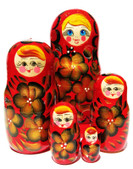 Vesna Red 5 Piece Russian Babushka Doll
