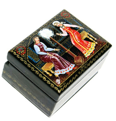 Wool Spinning Palekh Miniature Lacquer Box