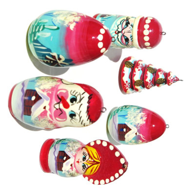 Winter Christmas Wooden Ornament Set