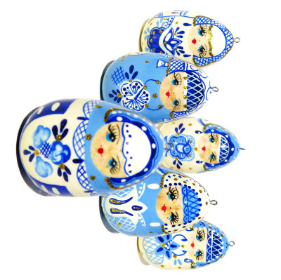 Babushka Christmas Wooden Ornament Set
