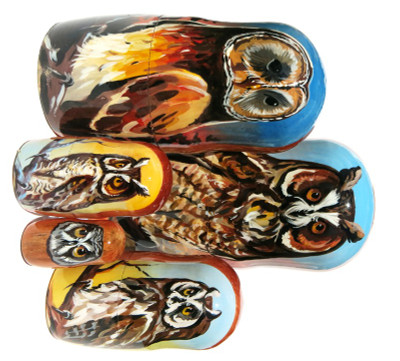 "Owls 5-Piece Portrait Russian Nesting Doll ""Set 6"""