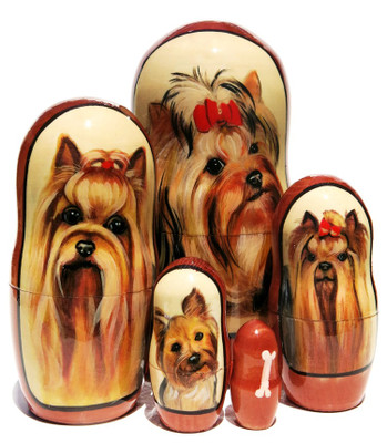 Yorkshire Terrier 5-Piece Dog Portrait Nesting Doll