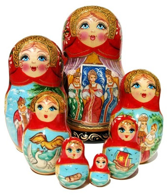 "Russian Matryoshka Doll ""Beauties"" 7 Piece Set (Main View)"