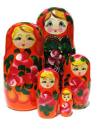 set of 5 Betsy Russian babushka dolls