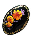 "Russian Oval Lacquer Broach ""Three Orange Flowers"""