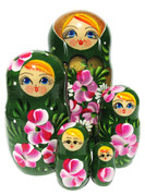 green babushka doll set roses