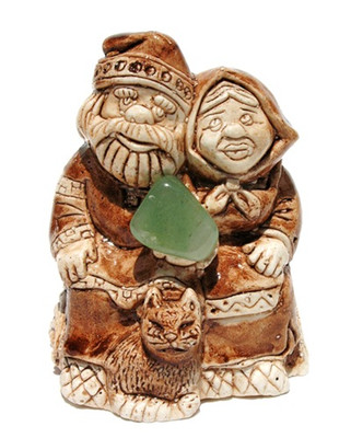 """Russian Ceramic """"Grandparents"""" Lucky Charm Netsuke Front View"""