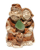"Russian Ceramic ""Grandparents"" Lucky Charm Netsuke Front View"