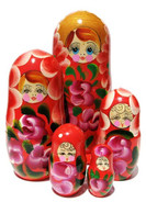 extra large Gloria 5 piece red matryoshka doll