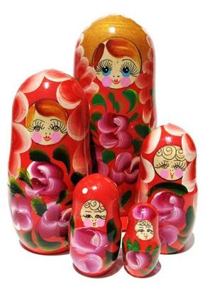 extra large Gloria 5 piece red matryoshka doll