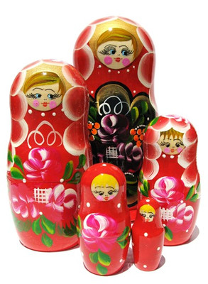 Red set of 5 stacking sisters Russian babushka dolls