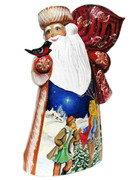 Admirer Hand Carved Wooden Santa Front View