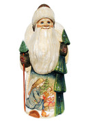 Christmas Angel Hand Carved Wooden Santa Front View