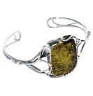 Green Baltic Amber 925 Silver Cuff Bracelet