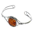 Queen Cognac Amber Silver Cuff Bracelet