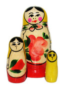 Babushka Semenov 3-Piece Nesting Doll In Yellow
