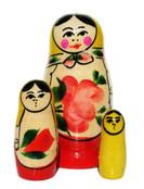 Babushka Semenov 3-Piece Nesting Doll In Yellow