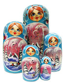 evening 5pc set of Russian nesting dolls in blue
