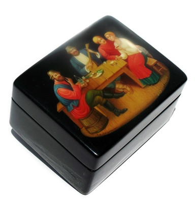 "Fedoskino Lacquer Box ""Russian Pub"" Main View"