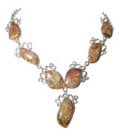 Natural Jasper 925 Silver Seven Links Necklace Main View
