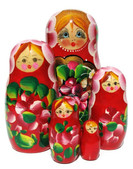 Surprise Large 5 Piece Red Nesting Doll