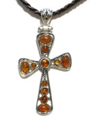 Large Cross Cognac Baltic Amber Silver Pendant