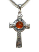 Cognac Baltic Amber and Silver Celtic Cross Pendant