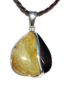 Moonlight Butterscotch Baltic Amber Petrified Wood Silver Pendant