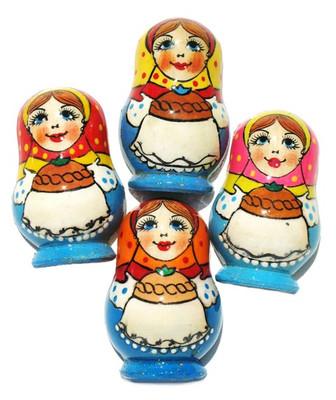 """Refrigerator Magnet """"Russian Babushka"""" in Blue"""