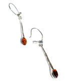 Drops Cognac Baltic Amber 925 Silver Earrings